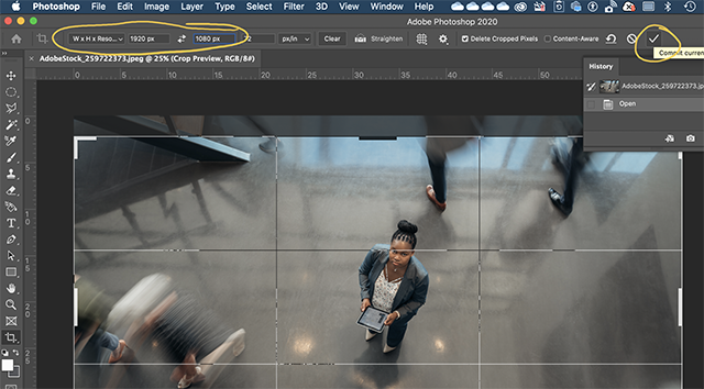Set crop options and confirm