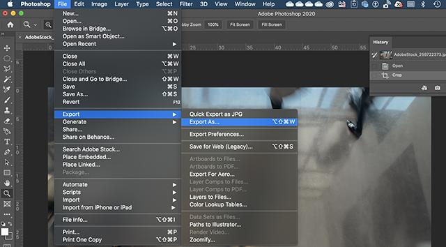 Export As menu option